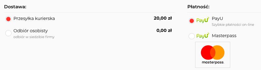 eSklep - Koszyk Klienta - Przykład nowo dodanej dostawy na liście dostępnych dostaw do wybrania w koszyku dla Klienta