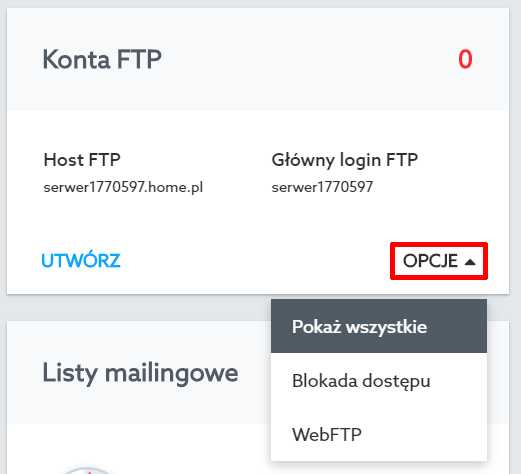 Panel klienta home.pl - Usługi WWW - Wybrany serwer - Konta FTP - Opcje - Wybierz opcję Pokaż wszystkie