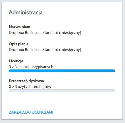 Panel klienta home.pl - Dropbox - Opcje - Licencje - Administracja - Kliknij przycisk Zarządzaj licencjami