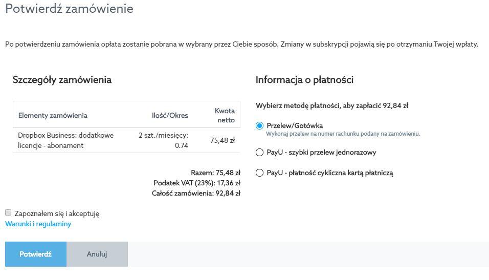 Panel klienta home.pl - Dropbox - Opcje - Licencje - Administracja - Całkowita ilości licencji - Potwierdź zamówienie - Opłać licencje i poczekaj na ich aktywację