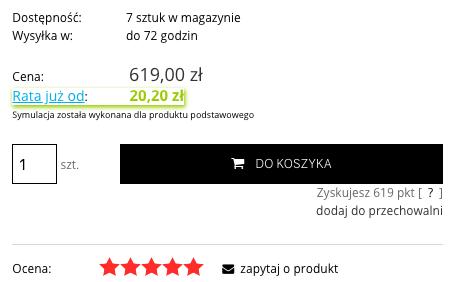 eSklep - Przykład działania symulacji płatności ratalnych pod ceną wybranego produktu w sklepie internetowym