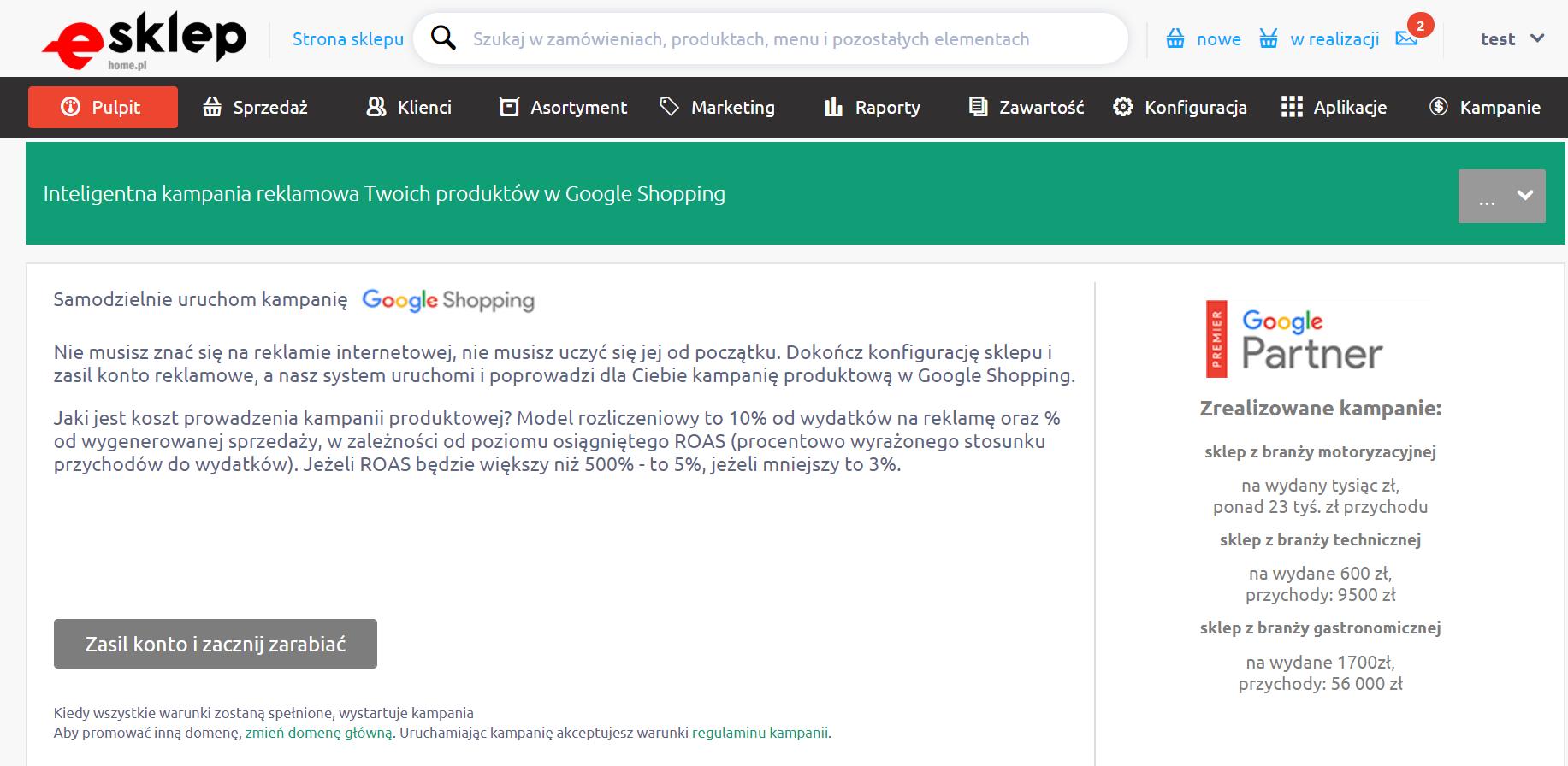 eSklep - Kampanie - Samodzielnie uruchom kampanię Google Shopping