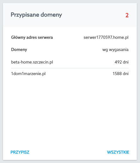 Panel klienta home.pl - Usługi WWW - Wybrany serwer - Przypisane domeny - Kliknij przycisk Wszystkie