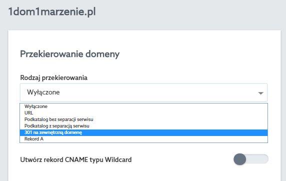 Panel klienta home.pl - Usługi WWW - Wybrany serwer - Przypisane domeny - Lista przypisanych domen - Edytuj - Przekierowanie domeny - Wybierz rodzaj przekierowania 301 – na zewnętrzną domenę