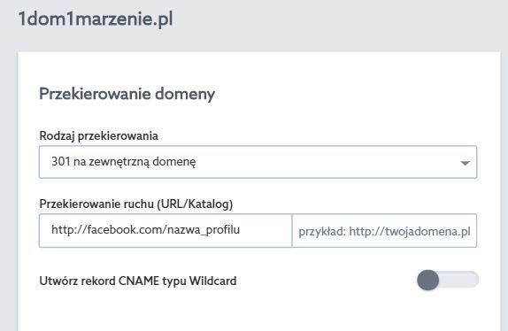 Panel klienta home.pl - Usługi WWW - Wybrany serwer - Przypisane domeny - Lista przypisanych domen - Edytuj - Przekierowanie domeny - W polu Przekierowanie ruchu wprowadź adres URL strony