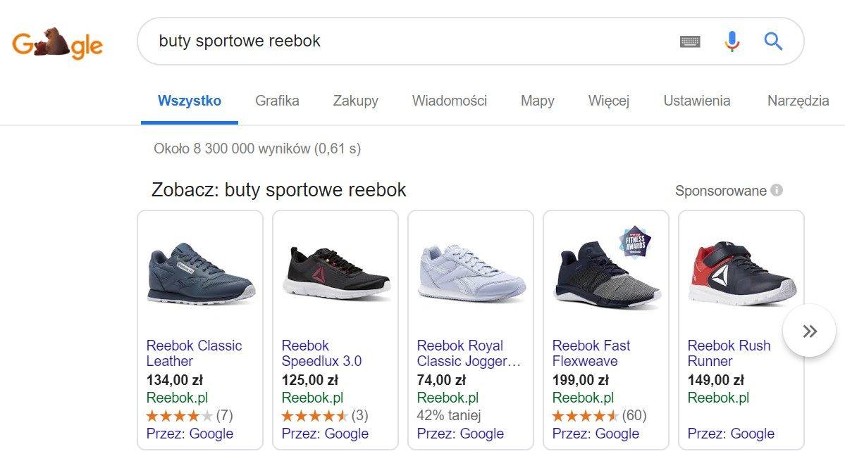 Google - Przykładowy widok reklamy produktowej pojawiającej się w wyszukiwarce Google