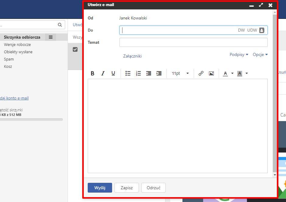 Poczta home.pl - Przykładowy widok ekranu do tworzenia wiadomości e-mail