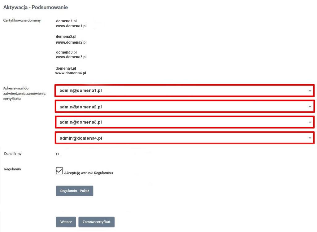 Certyfikaty SSL - Aktywacja - Podsumowanie - Podaj Adres e-mail do zatwierdzenia zamówienia certyfikatu