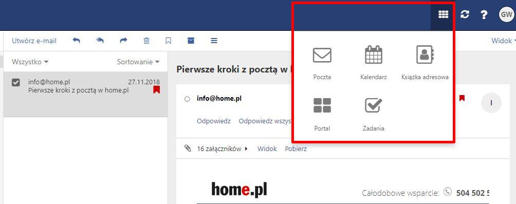 Poczta home.pl - Pasek nawigacji - Sprawdź dostępne menu z narzędziami