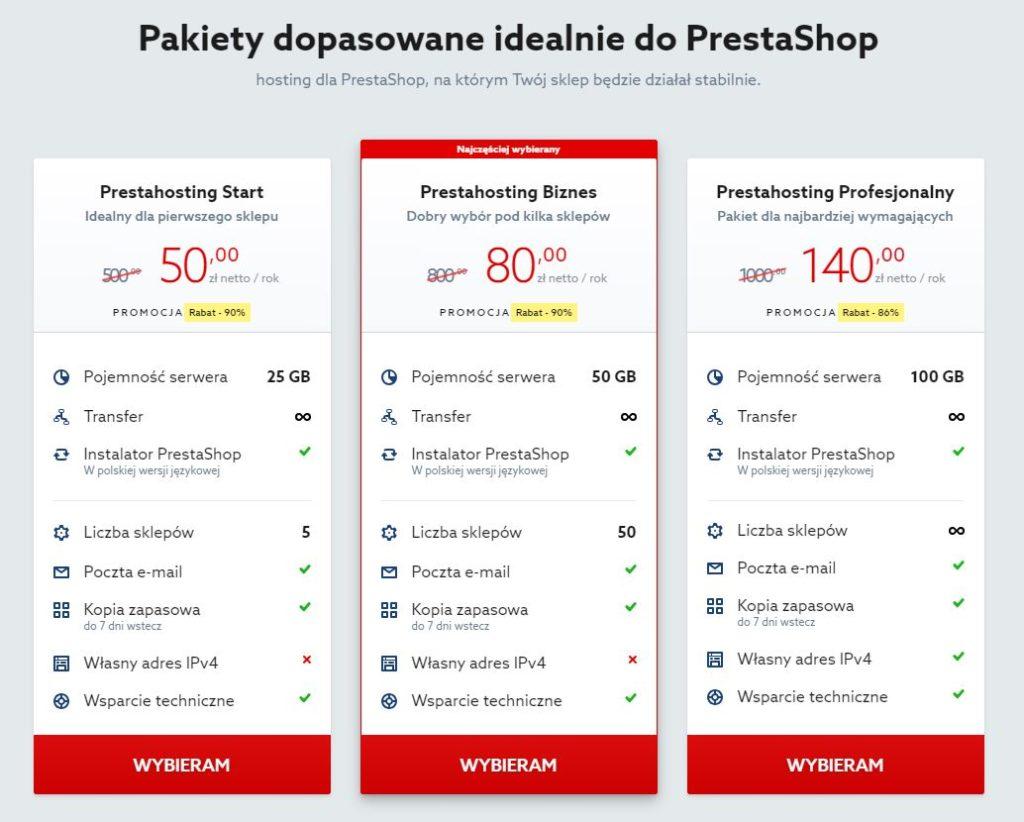 Home.pl - Prestashop - Oferta - Wybierz interesujący Cię typ usługi hostingu dla PrestaShop i kliknij przycisk Wybieram