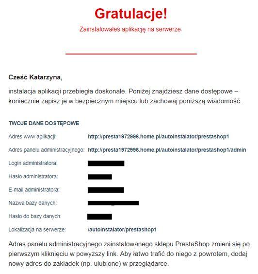 Wiadomość e-mail - Przykładowa wiadomość zawierająca Dane dostępowe do zainstalowanej aplikacji