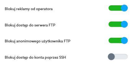 Panel klienta home.pl - Usługi WWW - Serwer WWW - Ustawienia - Preferencje serwera - Włącz lub wyłącz dostęp SSH