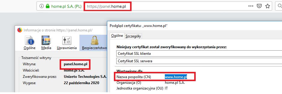 Przeglądarka internetowa - Pasek adresu - Podgląd szczegółów certyfikatu typu Multidomain dla domeny panel.home.pl