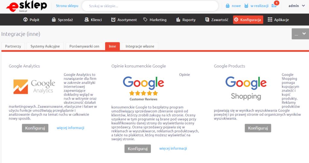 eSklep - Konfiguracja - Integracje - Inne - Wybierz wariant Google Products i kliknij przycisk Konfiguruj
