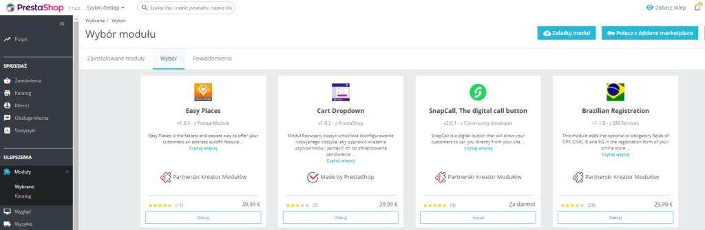PrestaShop - Ulepszenia - Moduły - Wybrane - Wybór - Naciśnij przycisk Załaduj moduł