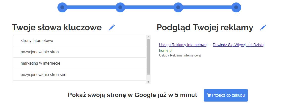 Panel klienta home.pl - eKampanie Google - Kampanie Google Ads - Twoja słowa kluczowe - Po sprawdzeniu i uzupełnieniu informacji, kliknij przycisk Przejdź do zakupu