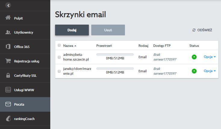 Przykładowy ekran Poczty po zalogowaniu się do Panelu klienta nowej platformy home.pl