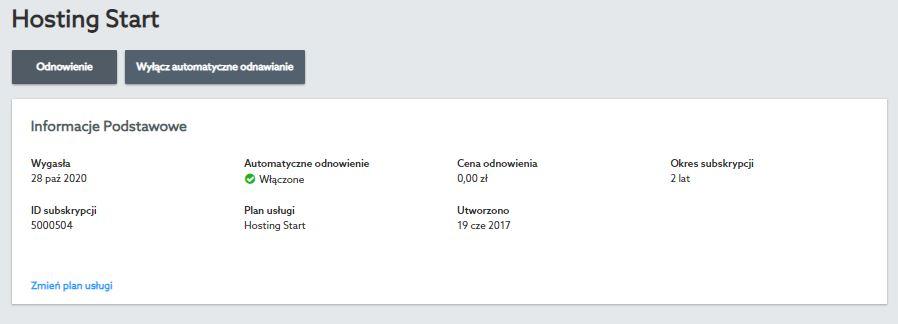 Przykładowy widok automatycznego odnowienia usługi w Panelu klienta nowej platformy home.pl