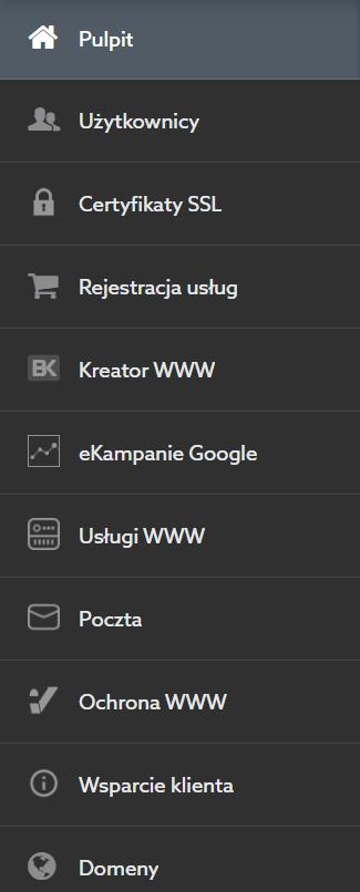 Nowe menu w panelu klienta home.pl
