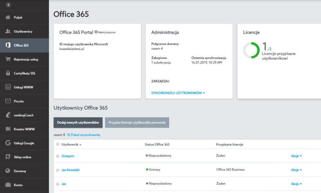 Przykładowy panel administracyjny usługi Office 365 dla nowej platformy home.pl