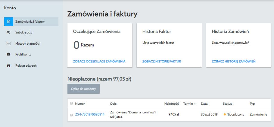 Przykładowy ekran sekcji Konto - Zamówienia i faktury po zalogowaniu się do Panelu klienta nowej platformy home.pl