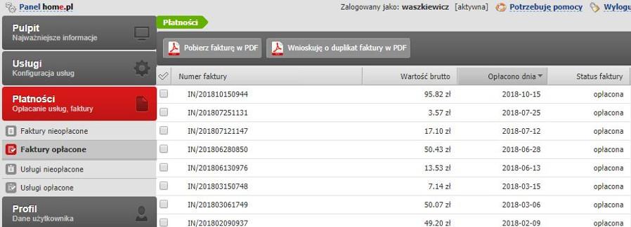 Przykładowy widok automatycznego odnowienia usługi w Panelu klienta poprzedniej platformy home.pl