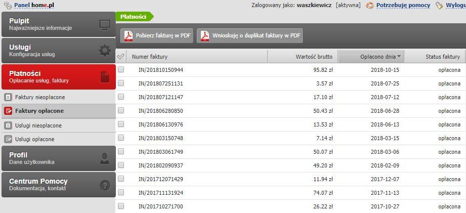 Przykładowy ekran sekcji Płatności - Faktury opłacone po zalogowaniu się do Panelu klienta poprzedniej platformy home.pl