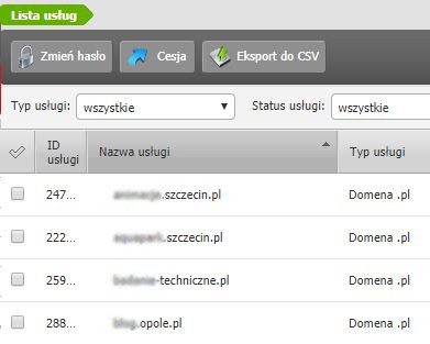 Przykładowy widok przekazania zarządzania domeną w Panelu klienta poprzedniej platformy home.pl