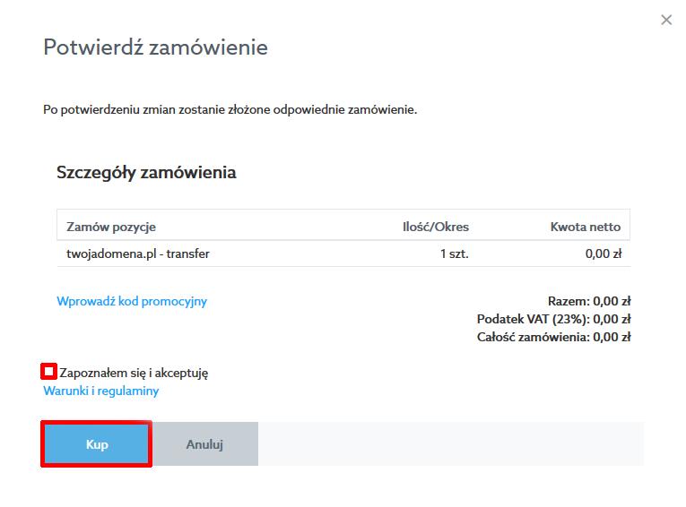 Panel Klienta home.pl - Domeny - Dodaj nową domenę - Transferuj Swoją Domenę - Potwierdź zamówienie - Kliknij przycisk Kup