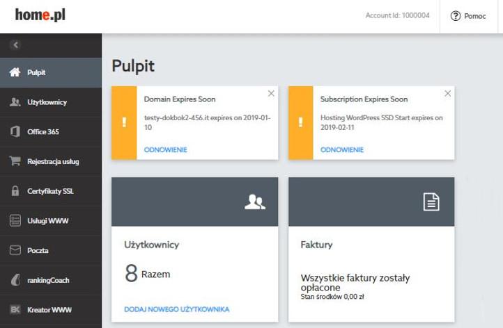 Przykładowy ekran główny (pulpit) po zalogowaniu się do Panelu Klienta nowej platformy home.pl