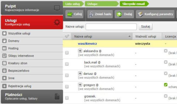 Przykładowy ekran Usług - Skrzynki e-mail po zalogowaniu się do Panelu klienta poprzedniej platformy home.pl