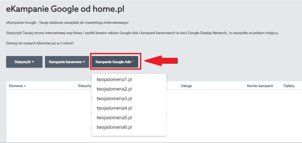 Panel klienta home.pl - eKampanie Google - Kampanie Google Ads - Z rozwijanej listy wybierz stronę, dla której chcesz stworzyć reklamę tekstową w Google Ads