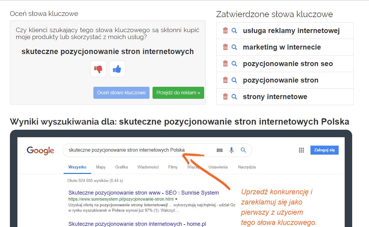 Panel klienta home.pl - eKampanie Google - Kampanie Google Ads - Oceń słowa kluczowe - Wybierz słowa kluczowe, według których chcesz być znaleziony w wyszukiwarce Google