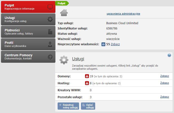 Przykładowy ekran główny (pulpit) po zalogowaniu się do Panelu klienta poprzedniej platformy home.pl