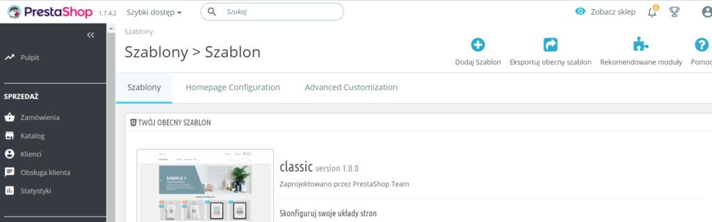 PrestaShop - Wygląd - Szablon - Kliknij przycisk Dodaj szablon