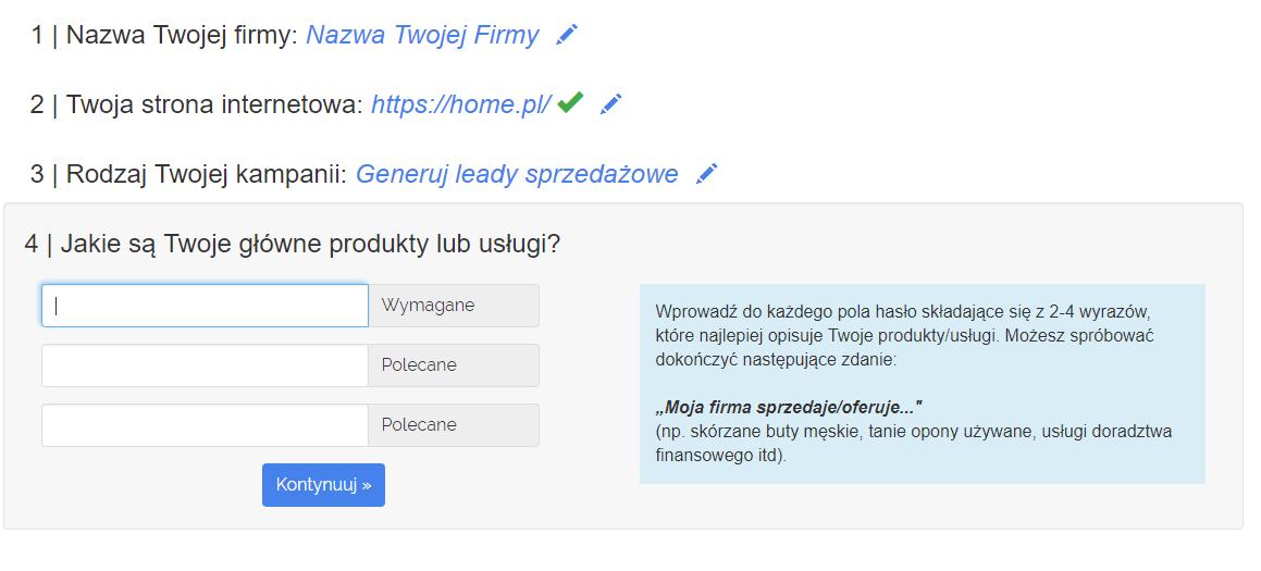 Panel klienta home.pl - eKampanie Google - Kampanie Google Ads - Jakie są Twoje główne produkty lub usługi? - Wpisz Twoje główne produkty i usługi, które chcesz reklamować w Google Ads