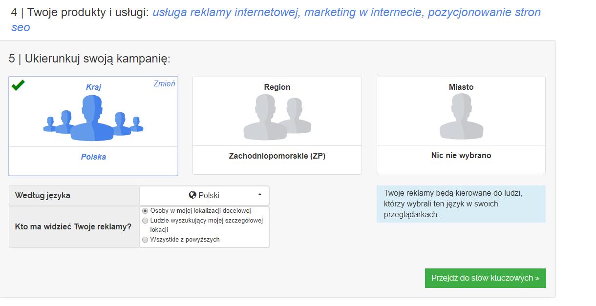 Panel klienta home.pl - eKampanie Google - Kampanie Google Ads - Ukierunkuj swoją kampanię - Wybierz grupę docelową reklamy tekstowej Google Ads, czyli scharakteryzuj kierunek Twoich działań marketingowych