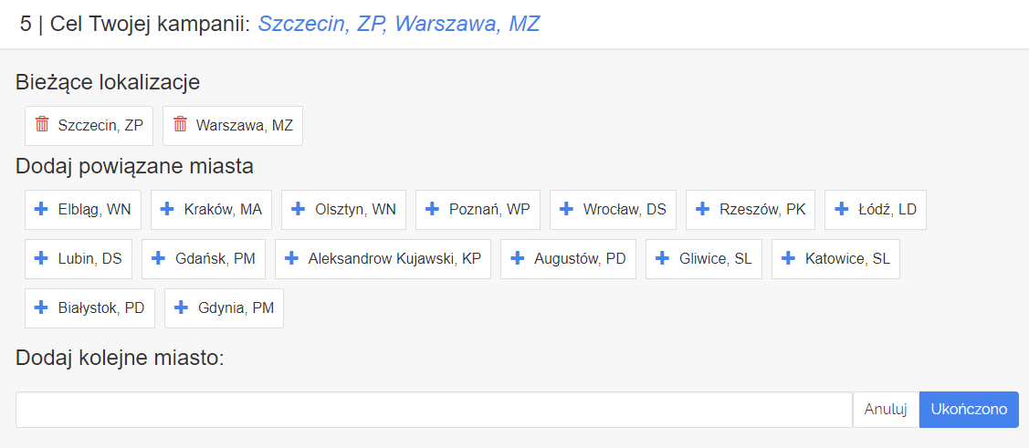 Panel klienta home.pl - eKampanie Google - Kampanie Google Ads - Dodaj powiązane miasta - Określ cel twojej kampanii w Google Ads według miasta lub powiązanych miast