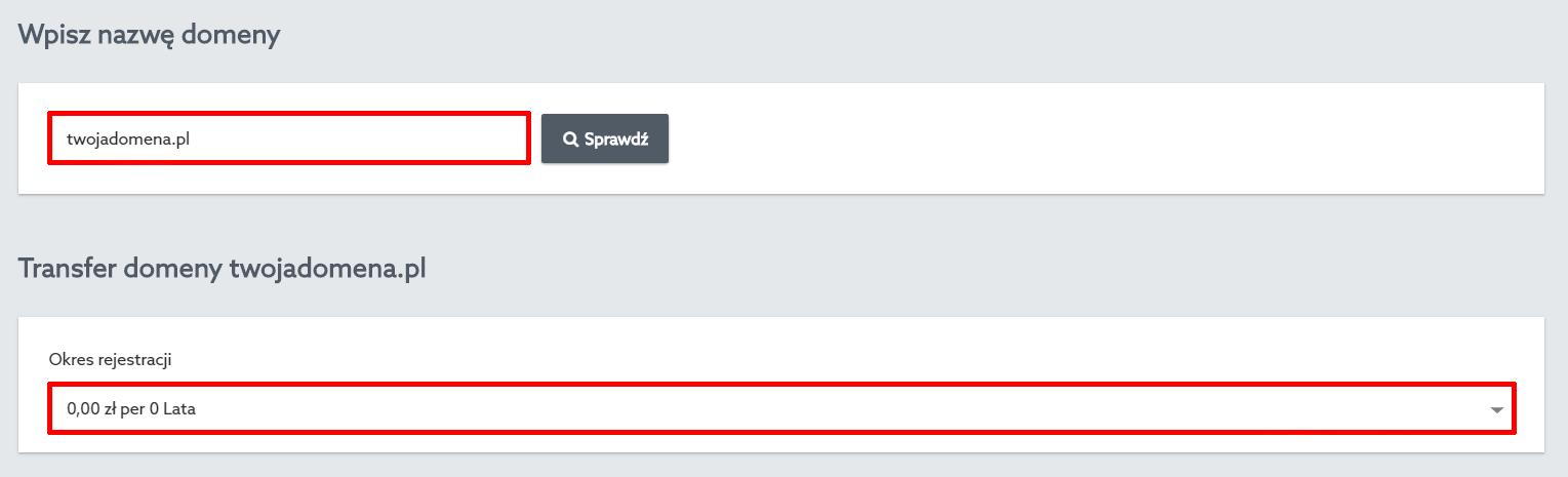 Panel Klienta home.pl - Domeny - Dodaj nową domenę - Transferuj Swoją Domenę - Transfer domeny - Wybierz okres rejestracji