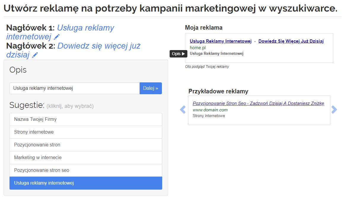 Panel klienta home.pl - eKampanie Google - Kampanie Google Ads - Utwórz reklamę na potrzeby kampanii marketingowej w wyszukiwarce - Wpisz dwa nagłówki reklamujące Twoją stronę i dodaj opis reklamowy