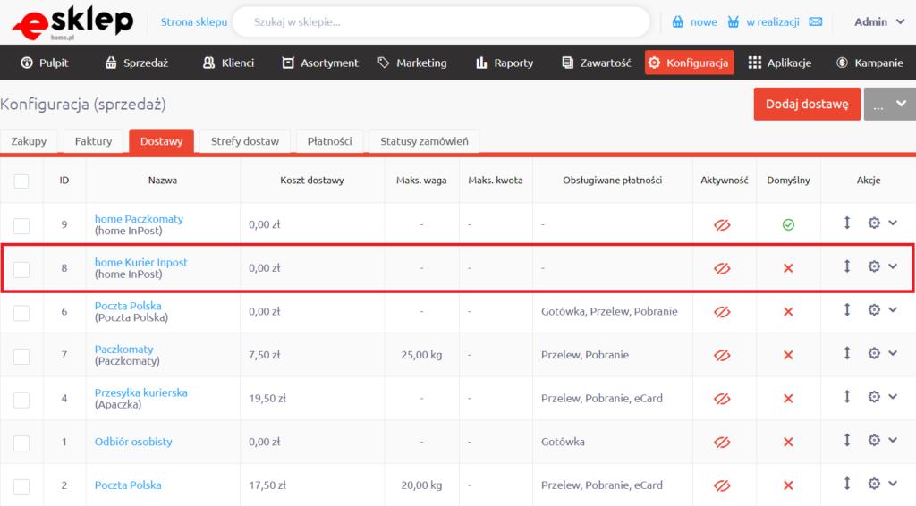 eSklep - Konfiguracja - Sprzedaż - Dostawy - home Kurier InPost - Zaznacz wariant aktywność
