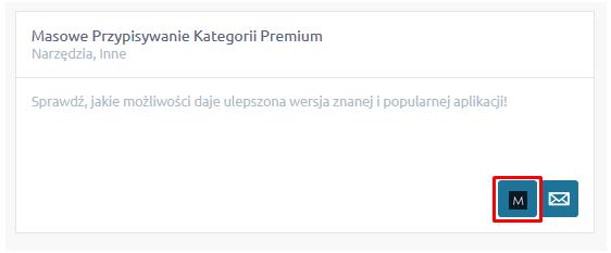 eSklep - Aplikacje - Moje aplikacje - Masowe Przypisywanie Kategorii Premium - Kliknij w ikonkę konfiguracji