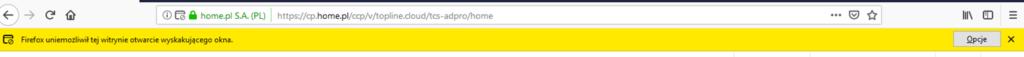 Firefox - Pasek adresu - Przykładowy widok żółtego paska z komunikatem Firefox uniemożliwił tej witrynie otwarcie wyskakującego okna