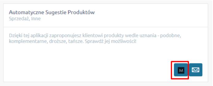 eSklep - Aplikacje - Moje aplikacje - Automatyczne Sugestie Produktów - Kliknij w ikonkę konfiguracji