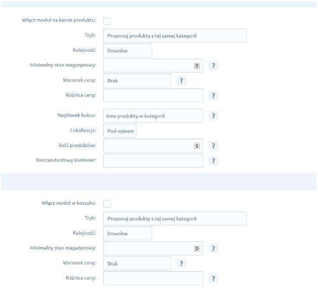 eSklep - Aplikacje - Moje aplikacje - Automatyczne Sugestie Produktów - Konfiguracja - Ustaw wybrane ustawienia aplikacji