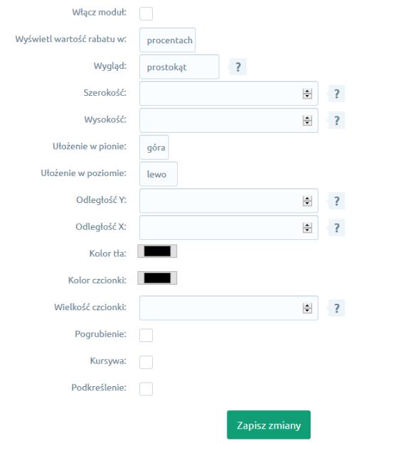 eSklep - Aplikacje - Moje Aplikacje - Wstążka z wartością rabatu - Konfiguracja - Ustaw wybrane ustawienia aplikacji