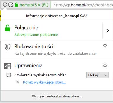 Firefox - Pasek adresu - Ikona informacji - Przykładowy widok okna z informacjami na temat strony home.pl S.A
