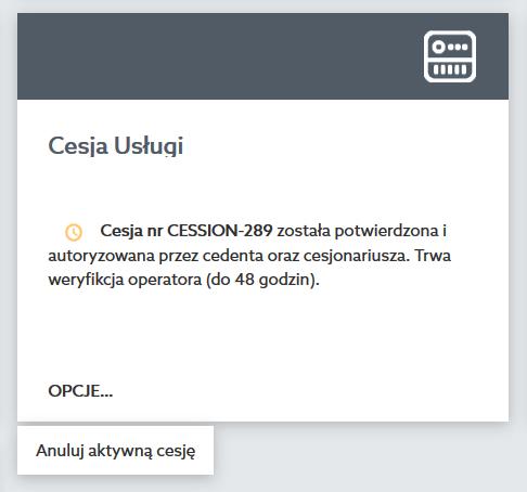 Panel klienta home.pl - Wsparcie klienta - Cesja usług - Kliknij przycisk Anuluj aktywną cesję