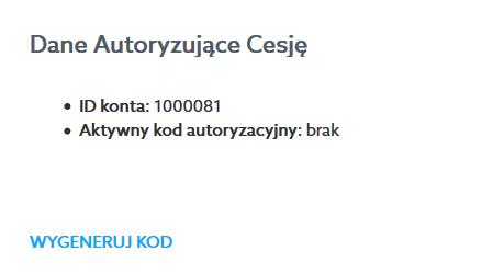 Jak wygenerować kod autoryzujący cesję?