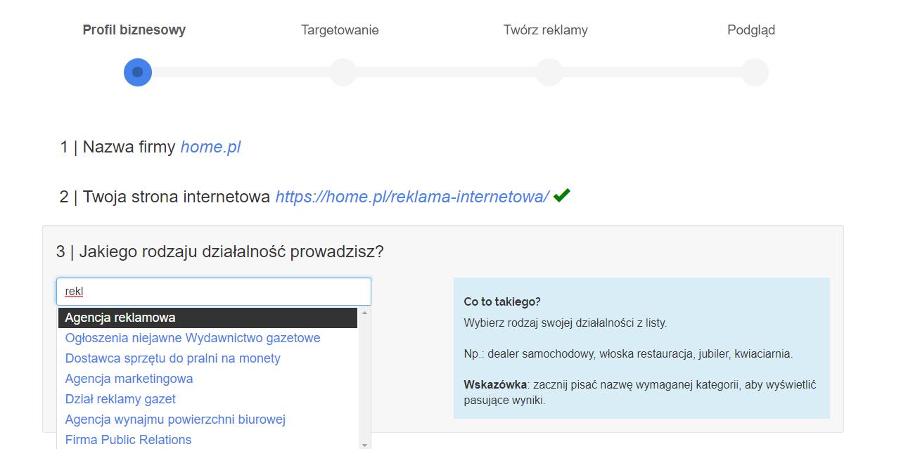 Panel klienta home.pl - eKampanie Google - Kampanie banerowe - Strona WWW - Rozpocznij - Profil biznesowy - Z rozwijanej listy wybierz tę opcję, którą najlepiej określa Twoją działalność